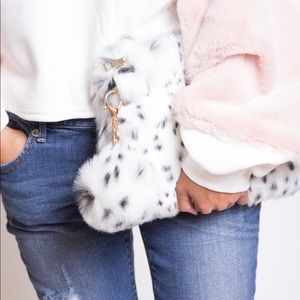 Blue Blush Sweaters - Terry Top with Sleeve Contrast Faux Fur Sweater
